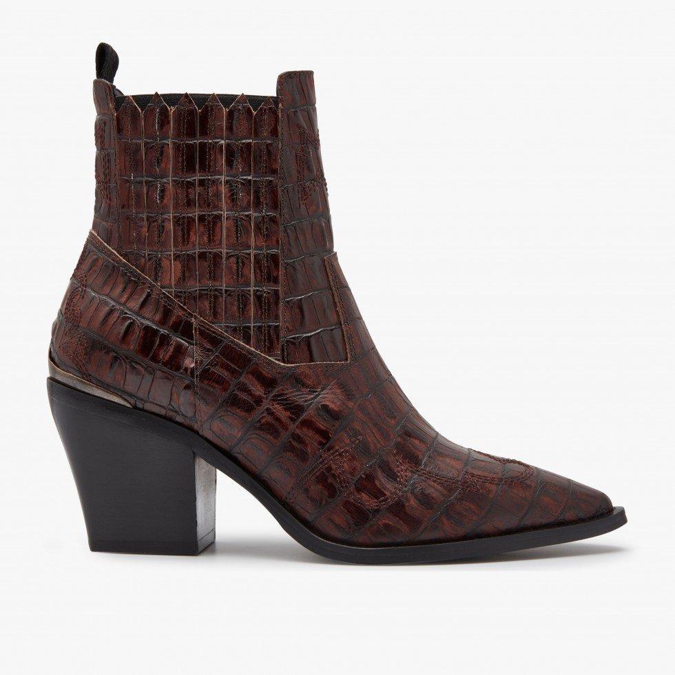 Nubikk Romee Cura Brown Croco Ankle Boots