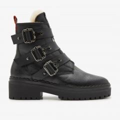 Fae Buckle Fur | Zwarte Biker Boots