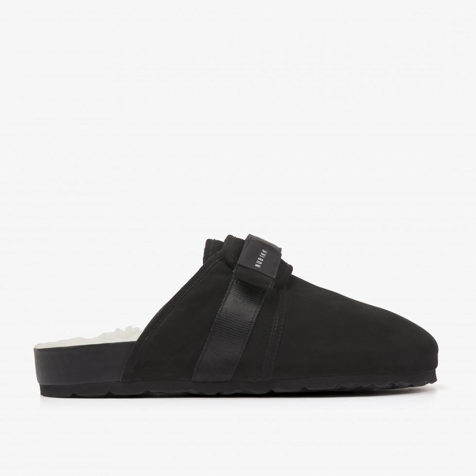 Nubikk Shaun Fur L Black Slippers