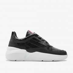 Lucy Boulder Croco | Zwarte Sneakers