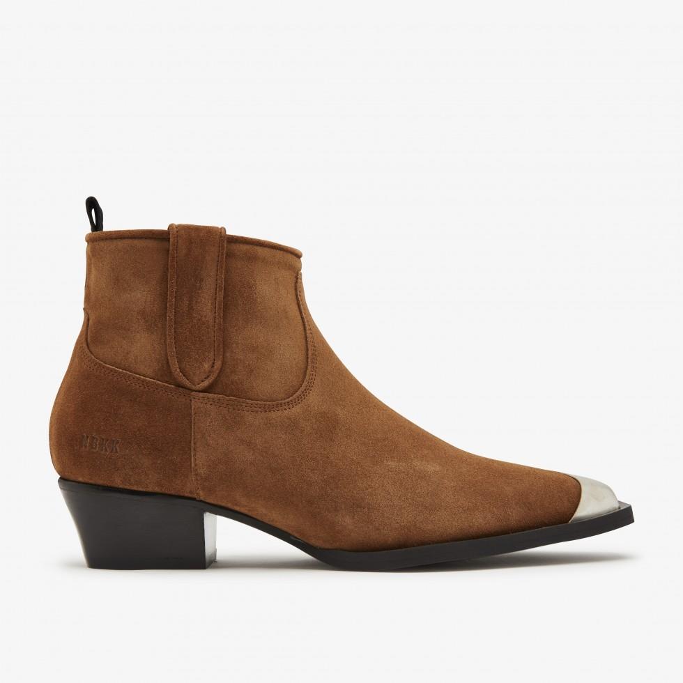 Cognac Ankle Boots Holly Metal Nubikk
