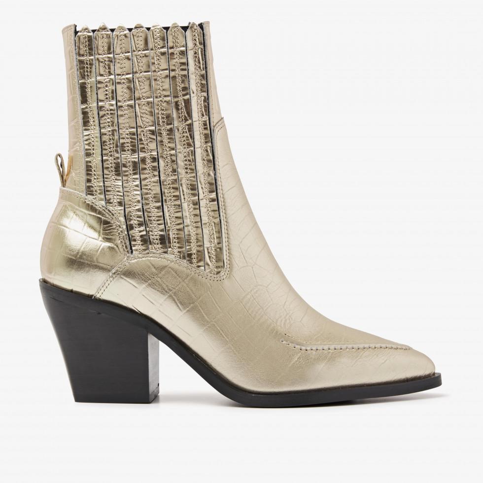 Nubikk Romee Moc Gold Snake Ankle Boots