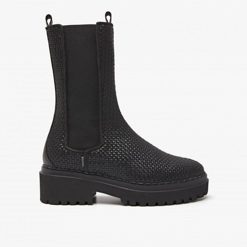Nubikk Fae Adams Zwart Geweven Boots