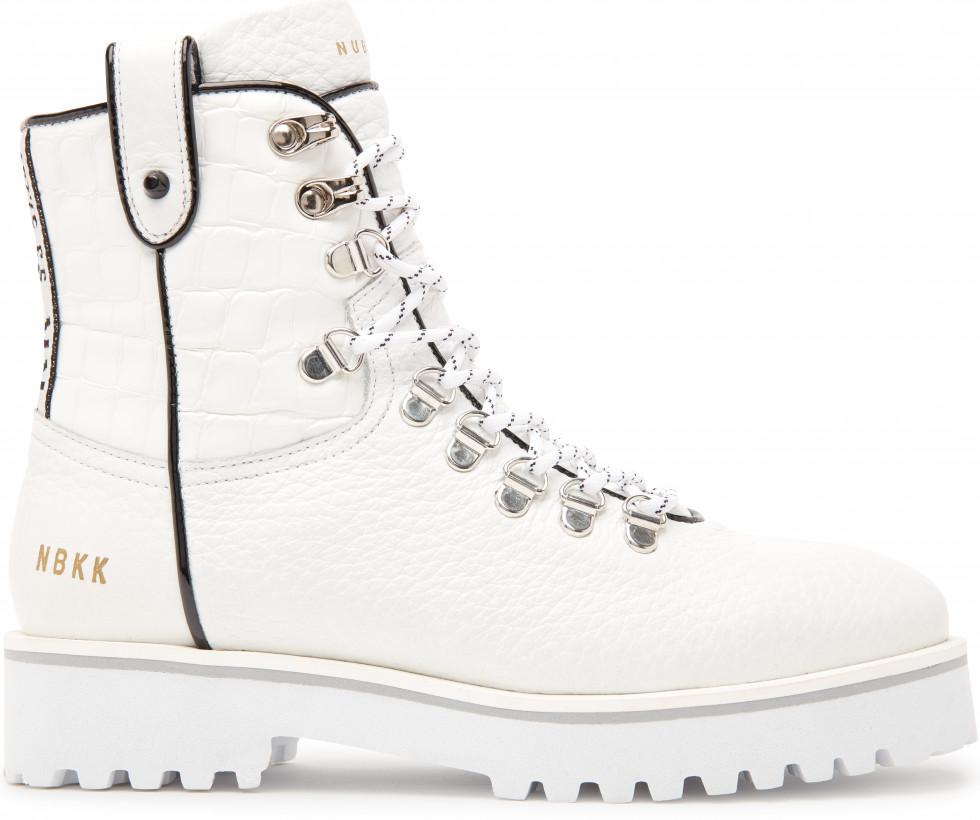 Witte Biker Boots Bowie Roma Grain Nubikk