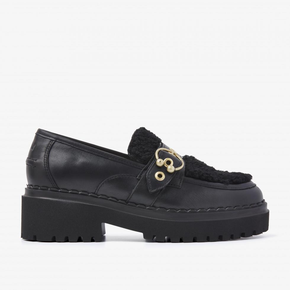 Nubikk Fae Gatsby Fur Zwarte Loafers