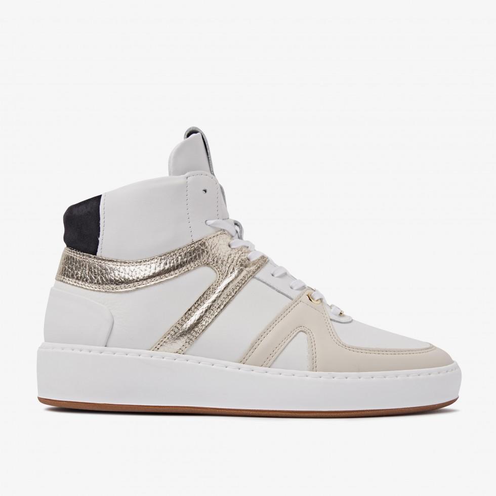 White Sneakers Jiro Dunk Gold Nubikk