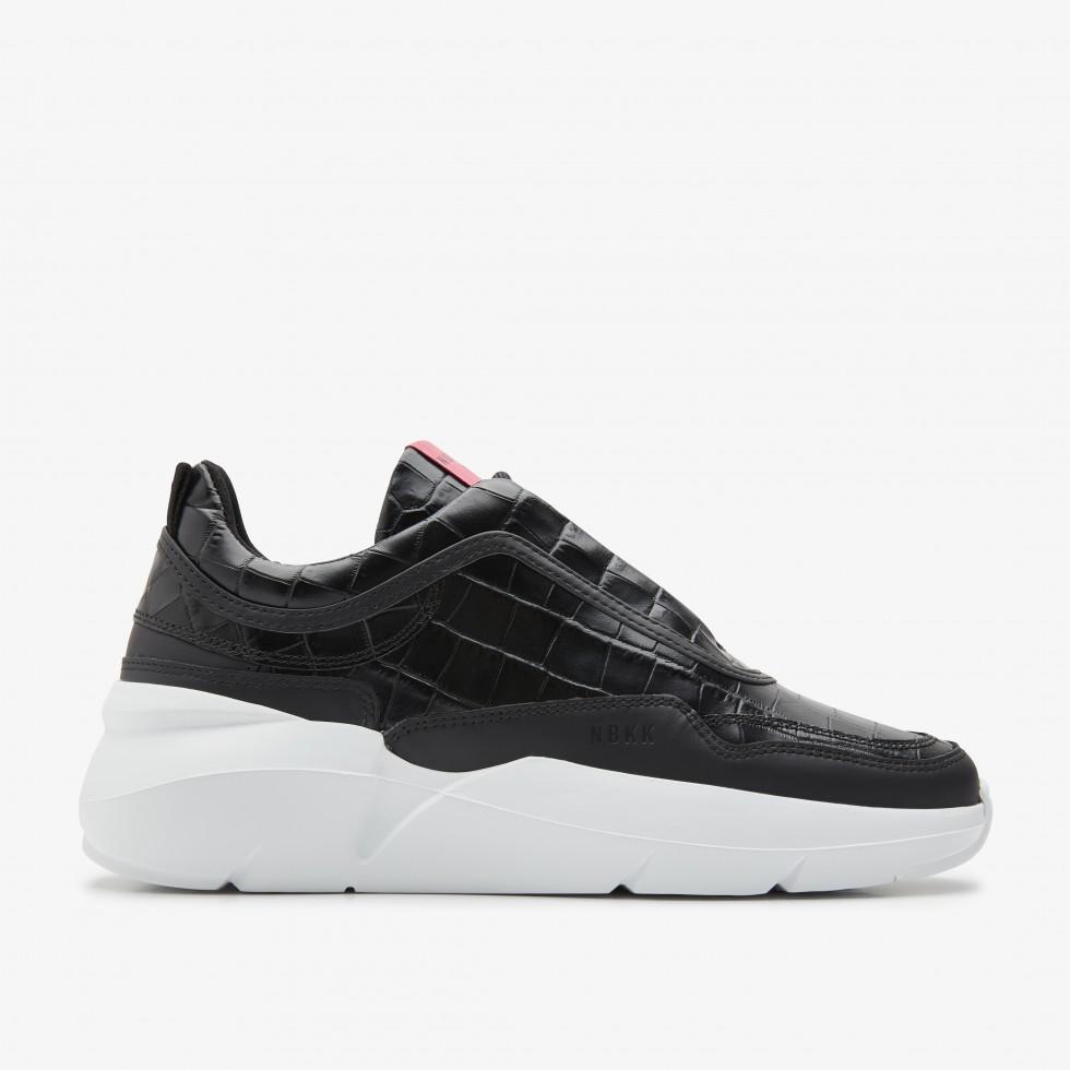Schwarze Sneaker Lucy Boulder Croco Nubikk