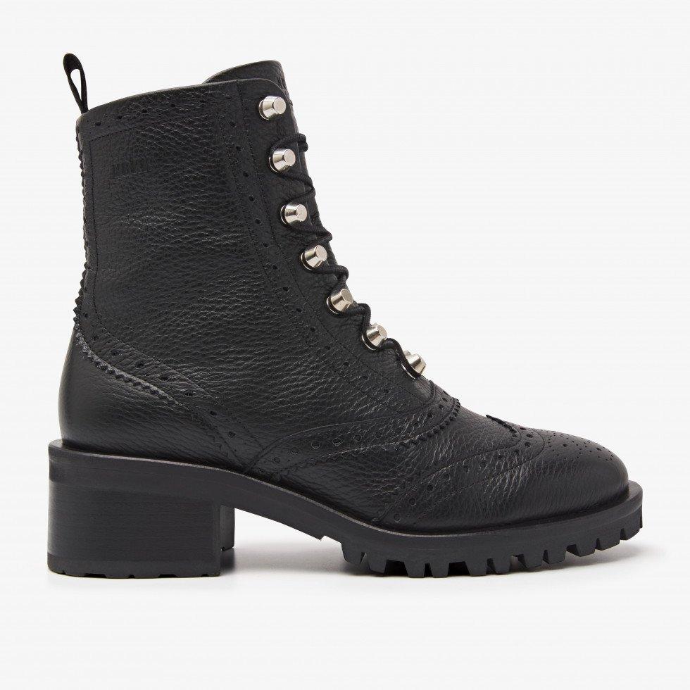 Nubikk Djuna Brogue Zwarte Biker Boots