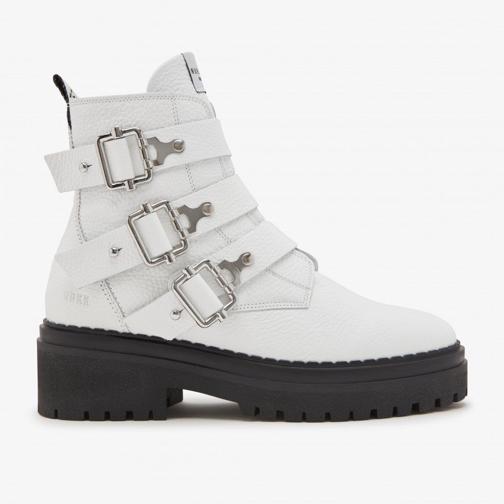 Fae Buckle | White Boots