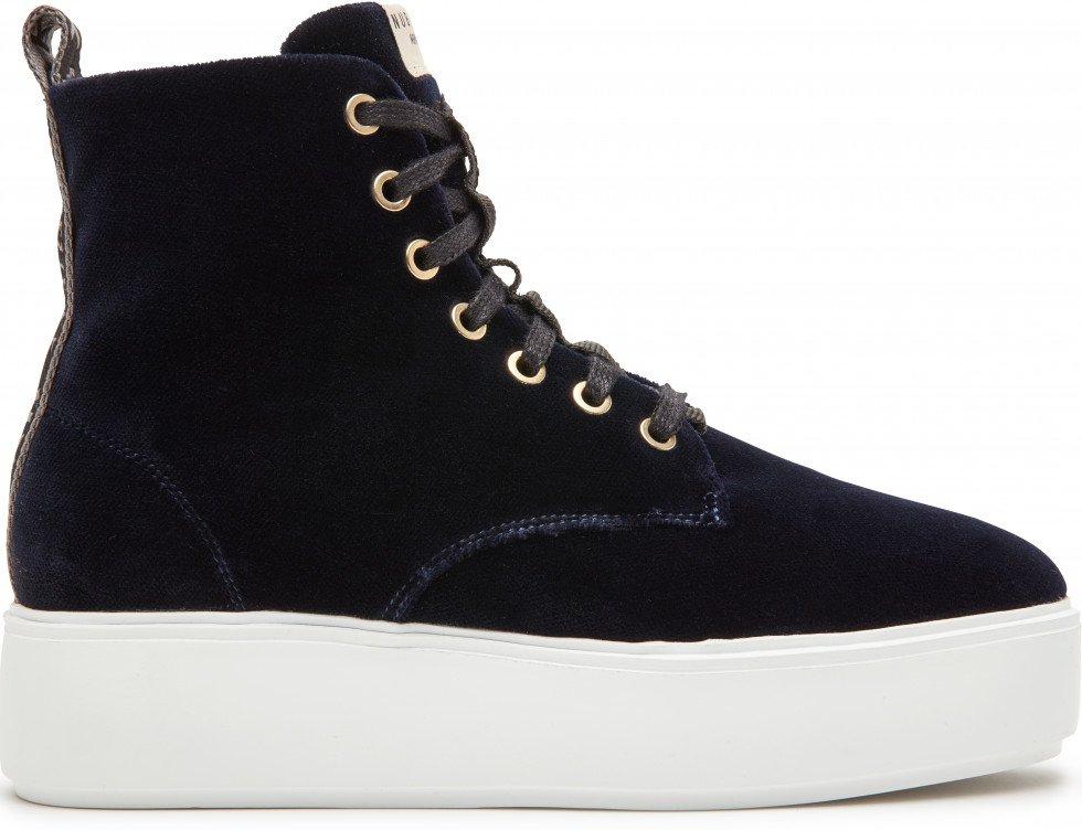 Blauwe Sneaker Elise Mid Lace Velvet Nubikk