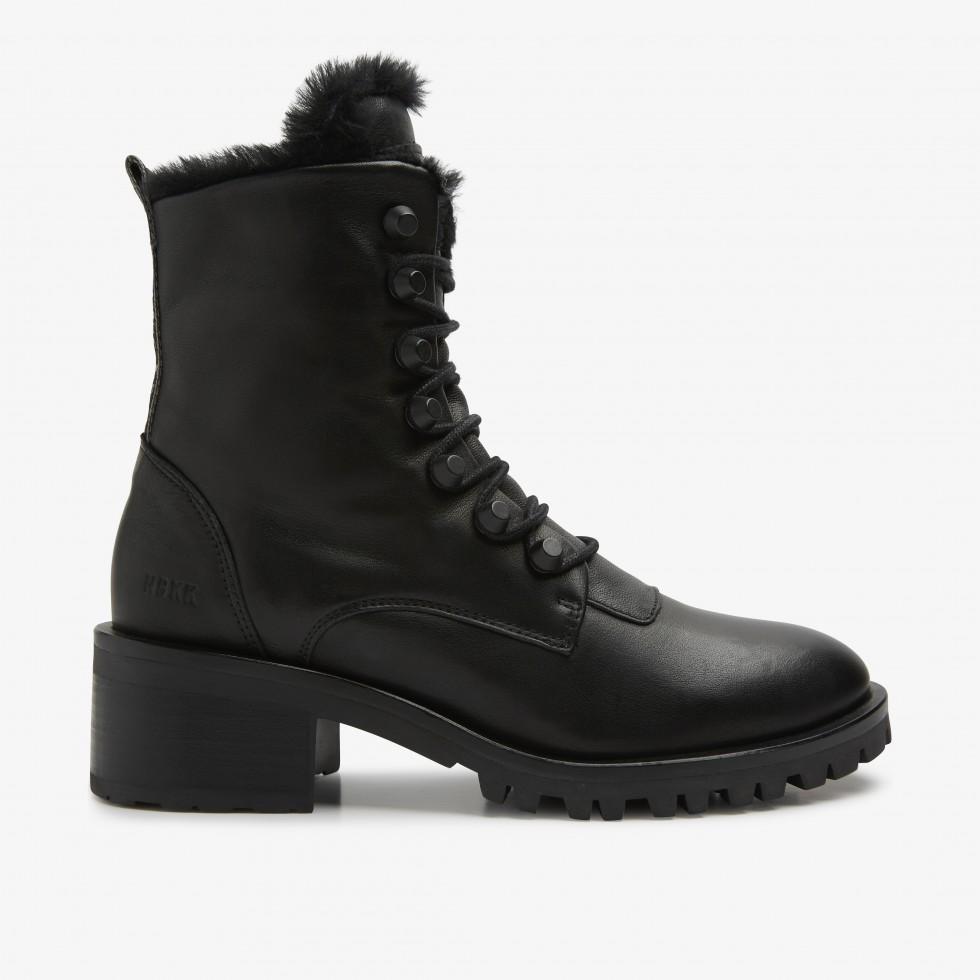 Black Biker Boots Djuna Cone Fur Nubikk
