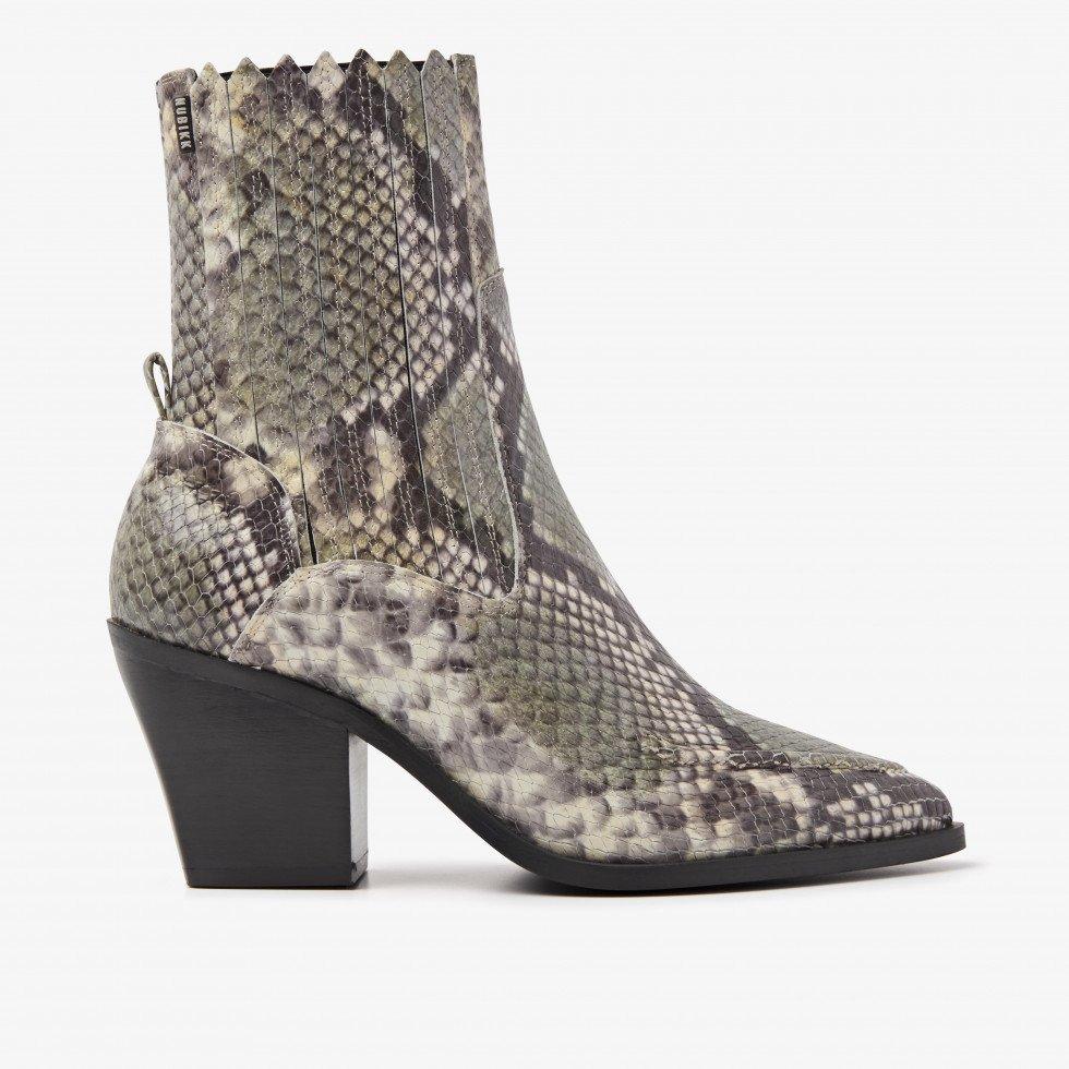 Nubikk Romee Moc Green Snake Ankle Boots