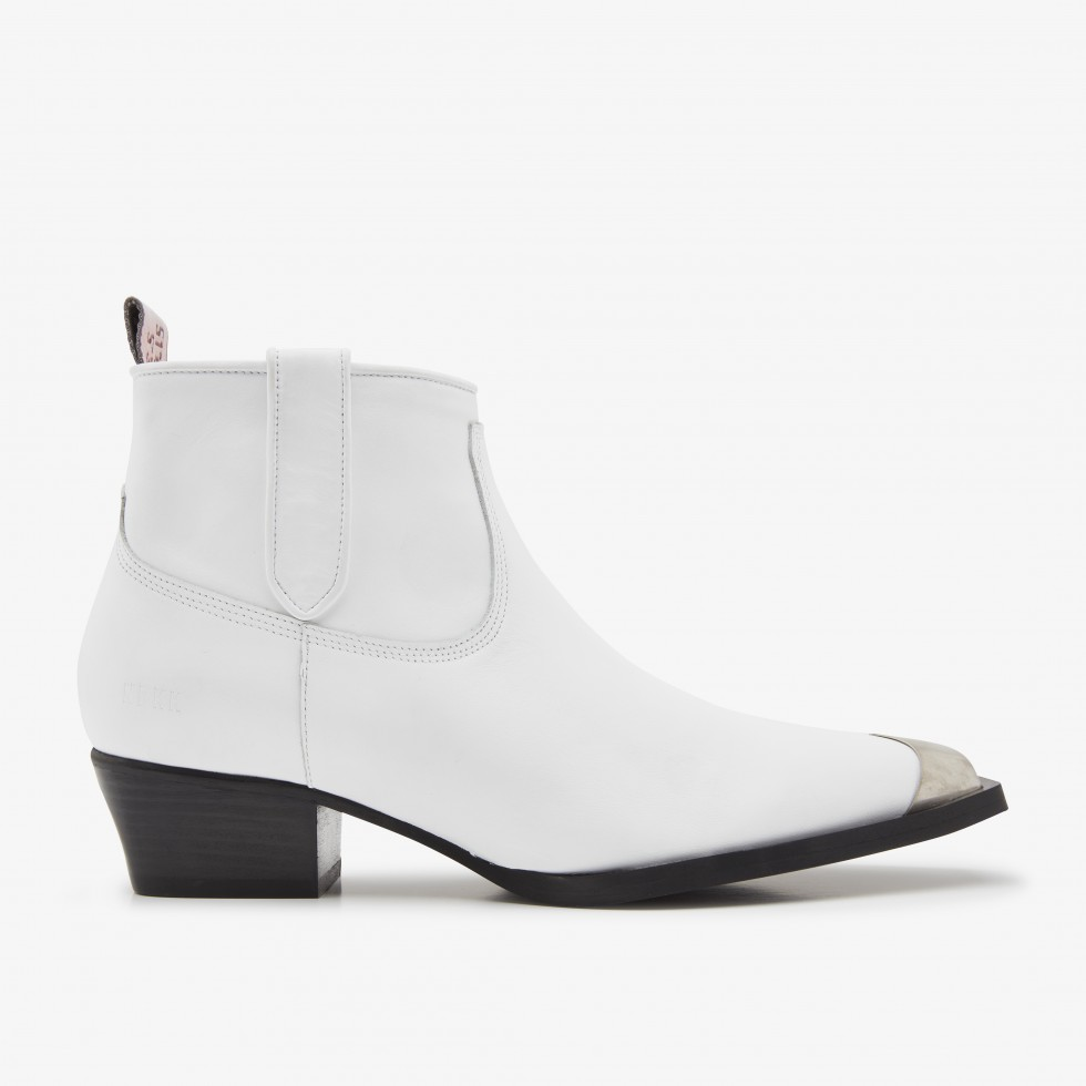 White Ankle Boots Holly Metal Nubikk