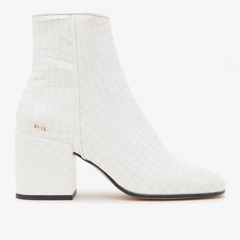 White Ankle Boots Gigi Croco Nubikk